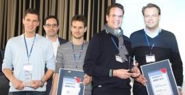 Die Preisträger des CARAT-Marketing-Awards: C. Töpfer und M. Blank von SONAX, J. Dennemann und M. Keller von Lumileds Germany